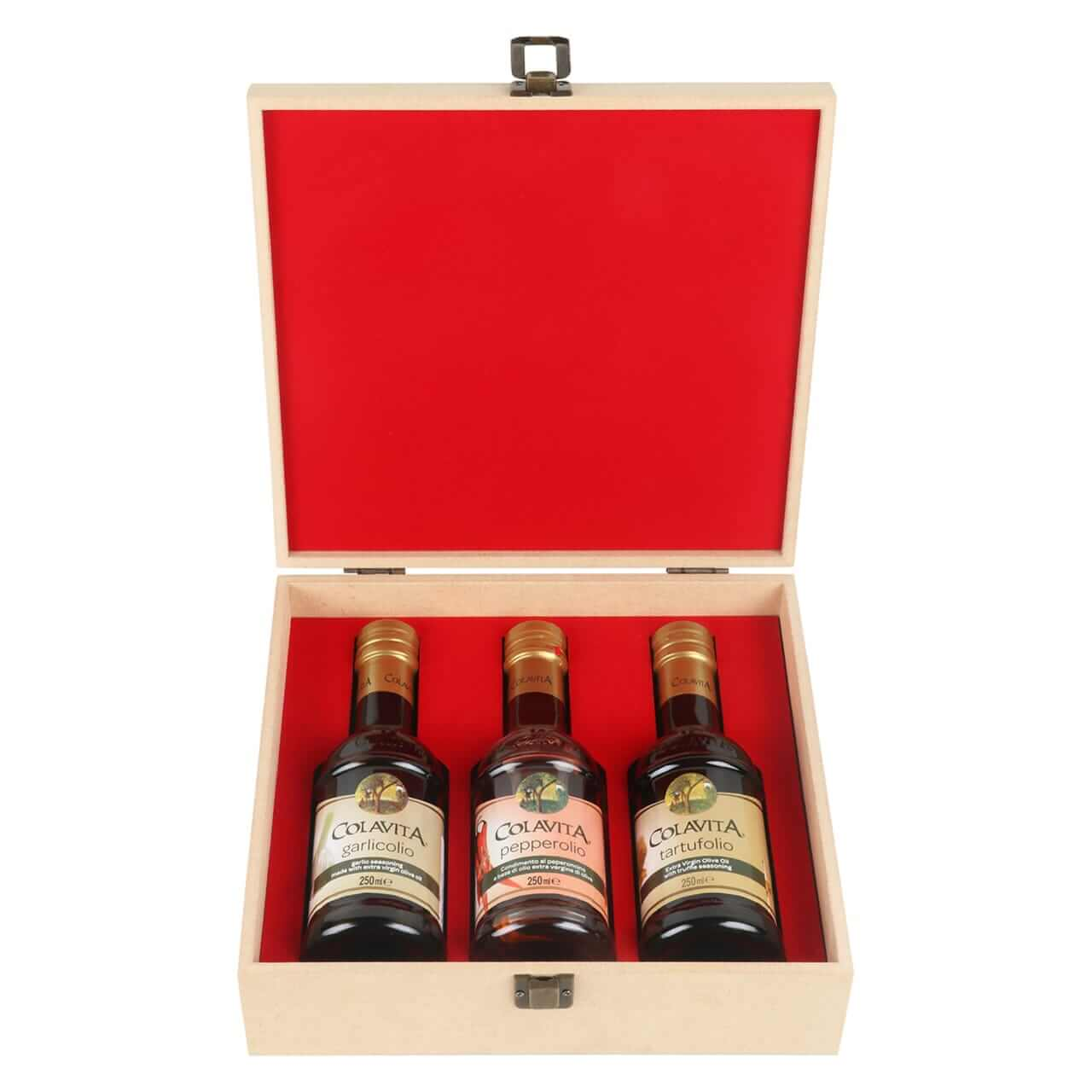 Colavita Flavoured Extra Virgin Olive Oil - Truffle, Garlic And Pepper In A Specially Crafted Reusable Wooden Box.